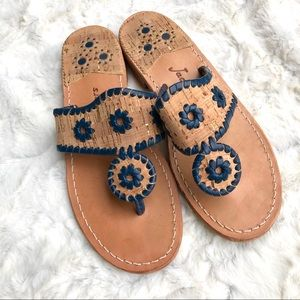 Jack Rogers • Navy & Cork Makeup Leather Sandal